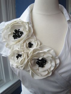 fabric flower brooch -  four bloom  corsage pin in ivory with genuine onyx beading -