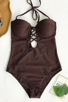 b506934d3f Cupshe Slow Time Halter One-piece Swimsuit Halter Swim Top, Halter Top  Swimsuits,