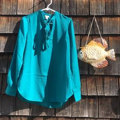 J. Crew tie front blouse New with tags, beautiful color. J. Crew Tops Blouses