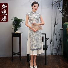 Charming Embroidery Lace Two Layers Qipao Cheongsam Dress - Qipao Cheongsam & Dresses - Women