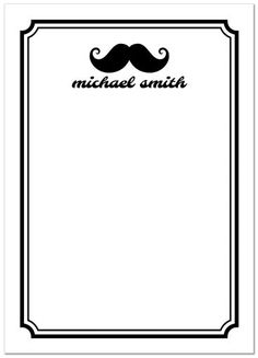 Mustache thank you cards. A black handlebar mustache and personalized name. Around the note card is a black border and on the back three white mustaches on a black background