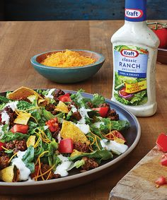 Quick Taco Salad recipe - Quick Taco Salad is a delectable mash-up of fresh lettuce and tomatoes, cheese and lean ground beef, without the hassle of stuffing a shell.  #Recipe #Salad #Taco @kraftrecipes