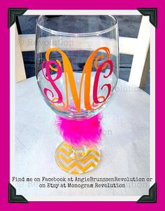 Personalized Customized Monogrammed Wine Glass 2 color Vine Monogram You pick colors and bottoms Perfect Gift for Friends Brides or Yourself on Etsy, $13.00