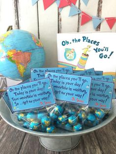 """Oh The Places You'll Go"" - Free Graduation Printable Treat Bag Toppers make for a fun touch at a graduation party! Printable in Documents as oh-the-places-youll-go-graduation-printable-treat-toppers Graduation Treats, Graduation Open Houses, Graduation Party Themes, Graduation Celebration, Grad Gifts, Grad Parties, Teacher Graduation Party, Graduation Decorations, Graduation Centerpiece"