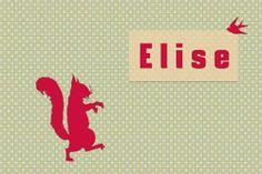 Geboortekaartje meisje - Eekhoorn met vogeltje - Pimpelpluis - https://www.facebook.com/pages/Pimpelpluis/188675421305550?ref=hl (# simpel - eenvoudig - retro - naam - dieren - origineel - roze - eekhoorn - vogel - silhouette)