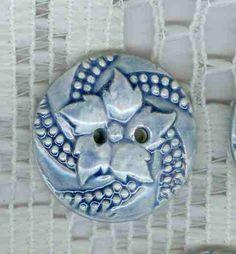 Cobalt Blue porcelain leaf ButtonsSet of by uniquebuttons on Etsy, $8.00