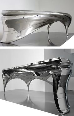 Lectori Salutem Desk by Jeroen Verhoeven - created using polished steel and the profiles of two of his studio colleagues.