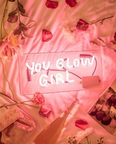 you glow girl pink neon light inspirational quote Neon Rosa, Neon Quotes, Pink Quotes, Color Quotes, Neon Aesthetic, Pink Walls, Neon Lighting, Lighting Ideas, Wall Collage
