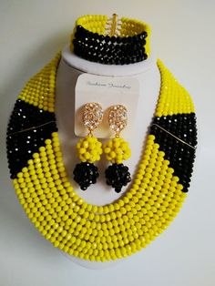 Fashion  Nigeria Wedding african beads jewelry set Opaque Lemon Yellow Crystal necklace Bridal Jewelry Sets Free shipping MO-673