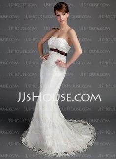 Wedding Dresses - $189.99 - Mermaid Sweetheart Court Train Satin Lace Wedding Dress With Sashes Beadwork (002015691) http://jjshouse.com/Mermaid-Sweetheart-Court-Train-Satin-Lace-Wedding-Dress-With-Sashes-Beadwork-002015691-g15691