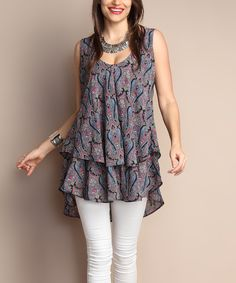 Another great find on #zulily! Blue Paisley Chiffon Layered Tunic - Plus by Reborn Collection #zulilyfinds