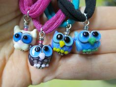 Girls Stretchy Necklace Choker Owl Cat Lampwork Beads by maybeads, $16.00