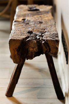 rough hewn bench via B L O O D A N D C H A M P A G N E . C O M: