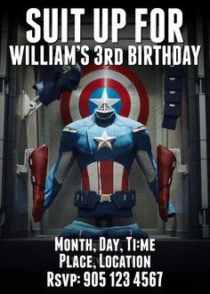 Captain America Birthday Party Invitation