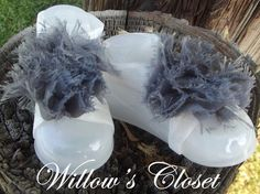 Grey and White Barefoot Sandals by WillowFayesCloset on Etsy, $7.00