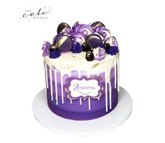Call or email to order your celebration cake today. Birthday Cakes, 2nd Birthday, Macaroon Cake, Cakes Today, Purple Birthday, Cupcake Wars, Cupcakes, Dessert Decoration, Drip Cakes