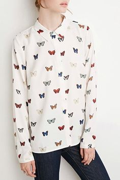 *Butterfly Print Flat Collar Long Sleeves Shirt