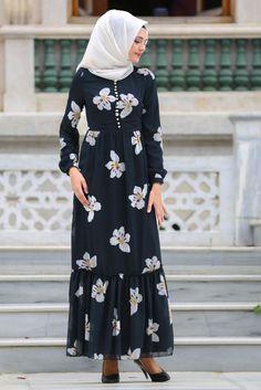 NEVA STYLE - Daily Dress - Flower Patterned Black Dress - 77860S