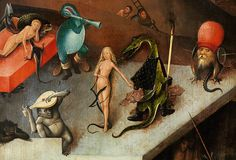 Delicious demons, nightmare creatures, and atrocious angels; no painter has come close to the fantastical schemes of Hieronymus Bosch. Great Works Of Art, Fantastic Art, Hieronymus Bosch Paintings, Art Optical, Garden Of Earthly Delights, Renaissance Artists, Neon Aesthetic, Catholic Art, Medieval Art