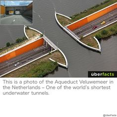 """One of the most beautiful in the world is an underwater tunnel located in the Netherlands and called """"Faleomar"""" tunnel. It connects between the Netherlands and the island of Flevoland, which is the largest artificial island in the world Architecture Cool, Construction, Beautiful Landscapes, Underwater, Places To See, The Good Place, Parks, Beautiful Places, Around The Worlds"""