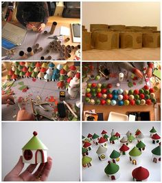 Make a little village from toilet rolls, for christmas decoration or combine with toy cars and train