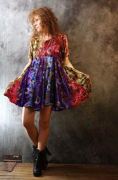 Vintage Dress Celestial Jewel tone India Tie Dye by MajikHorse