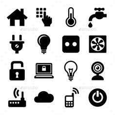 Smart Home Management Icons Set. Vector #design Download…