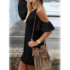 Algodón de la manga del vestido de la correa de hombro Desactivado lindo de la Mujer – USD $ 11.89