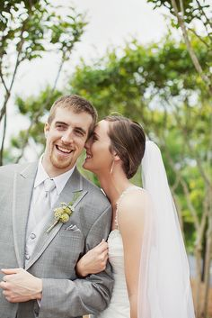 Such a cute wedding photo of the bride and groom by Happy Everything Co.!