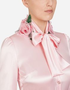 The elegant shirt is made of silk satin and enriched with romantic bloomed roses, handmade by our expert artisans: Coming Up Roses, Satin Shirt, Satin Blouses, Pink Dress, Fashion Show, Ruffle Blouse, Bows, Women's Shirts, Clothes For Women