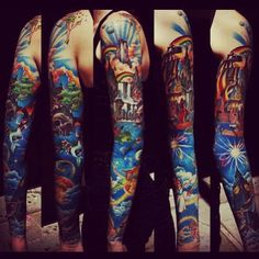Full sleeve Peter Pan tattoo