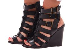 Lime Lush Boutique - Black Buckle Gladiator Wedge, $46.99 (http://www.limelush.com/black-buckle-gladiator-wedge/)