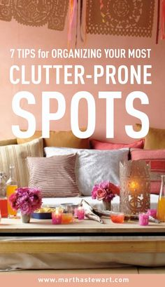 7 Tips for Organizing Your Most Clutter-Prone Spots | Martha Stewart Living - Clutter happens. Maybe you've been crazy busy at work and don't have time to clean when you get home. Or perhaps you're traveling every weekend and feel like you're living out of a suitcase. Or maybe you're just kind of a messy person. It's ok. We're here to help.