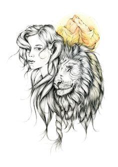 Original Girl And Lion Drawing by chloerubyart on Etsy