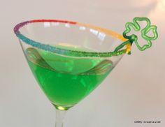 St. Patrick's Day Drink Ideas... rainbow sugar on rim!