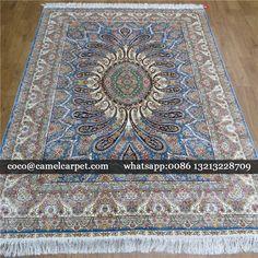 Blue 100% handmade chinese silk carpets persian design Size:5x7ft-152x213cm whatsapp:008613213228709 coco@camelcarpet.com