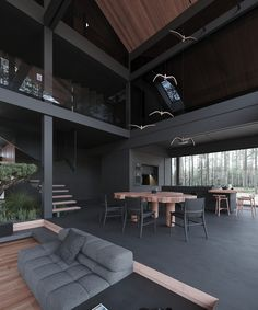 Moskow_house on Behance Dream House Interior, Luxury Homes Dream Houses, Dream Home Design, Modern House Design, Loft Design, Black Interior Design, Dark Interiors, House Rooms, Living Rooms