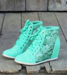 Lace mint green high tops