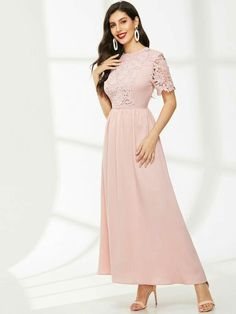 Fit Flare Dress, Fit And Flare, Pink Fashion, Fashion Dresses, Types Of Sleeves, Dresses With Sleeves, Natural Clothing, Lace Insert, Latest Dress