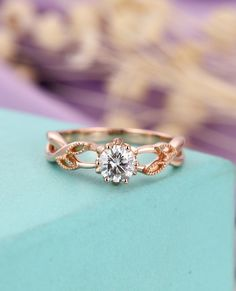 Moissanite engagement ring Rose gold engagement ring Women Wedding Diamond Milgrain Unique Leaf ring Bridal Jewelry Anniversary gift for her by HelloRing on Etsy https://www.etsy.com/ca/listing/601740095/moissanite-engagement-ring-rose-gold #uniquebridaljewelry