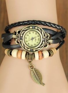 Black Charm - Black Leather Bracelet Watches  http://www.ustrendy.com/store/product/97268/black-leather-bracelet-watches-with-leaf-pendant