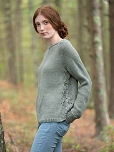 Fountain is a free sweater knitting pattern made with Berroco Vintage. Download the free pattern at Berroco.com.