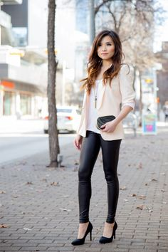 blush blazer + leather leggings