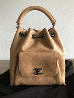 1b9f7a62fc7ad Authentic CHANEL Beige Tan Leather Handbag Backpack NEW with tag  CHANEL   Backpack