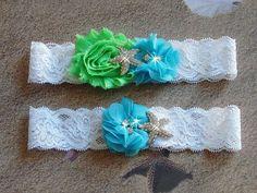 Lime and Turquoise Beach Wedding Garter Starfish by bridalambrosia