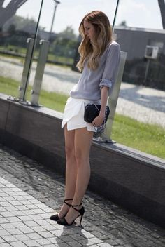 White Culottes With Asymetric Hem   Choies