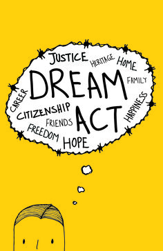 Dream Act Poster, which portrayed an important topic: Immigration, children from immigrants who don't get a chance in US. I did a very simple drawing, and a thought bubble also making it look as a wire, usually used at borders, prisons, etc.This poster made it to a National Competition about Dream Act topic.