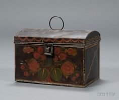 Polychrome Decorated Tinware Dome-top Trunk