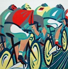 Peloton linocut by Paul Cleden at St Judes Prints Woodcut Art, Linocut Prints, Cycle Drawing, Futurism Art, Bike Poster, Bicycle Art, Bicycle Design, Postcard Art, Cycling Art