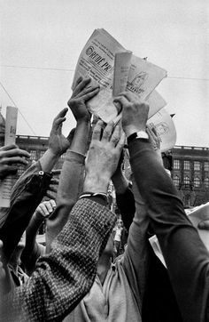 by Josef Koudelka - CZECHOSLOVAKIA. Prague. August 1968. Warsaw Pact troops Invasion. Rude Pravo, official organ of the Communist Party
